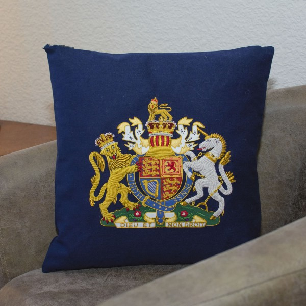 Royal Coat of Arms - Hand Embroidered Military Cushion - Blues and Royals