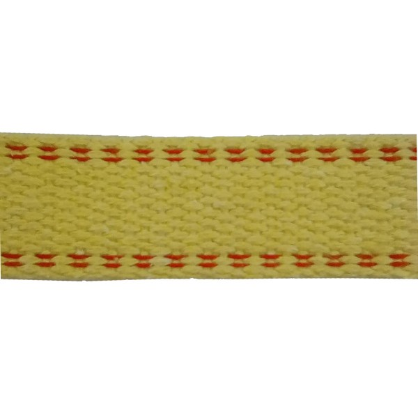 70mm Para Aramid Double Plain Weave Yellow Webbing with Red Stripe