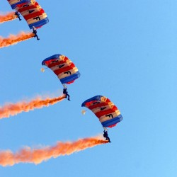 The RAF Falcons Parachute Display Team in action in 2001.
