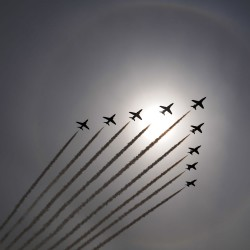 The Royal Air Force Aerobatic Team, The Red Arrows, Passing over RAF Cranwell in the