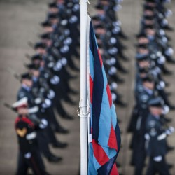 Gunners of No.1 Squadron Royal Air Force Regiment parade at Royal Air Force Honington to mark the presentation of the new Squadron Standard, on the 25th of June 2013.