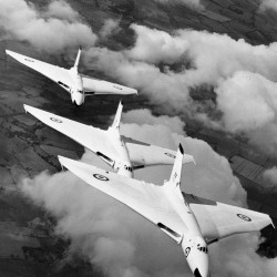 Vulcan bombers from RAF Waddington flying in formation in 1957.